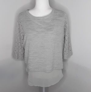 LC Lauren Conrad gray lace sleeve top medium